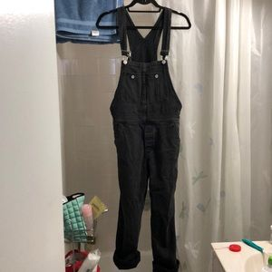 Free People Black Distressed Boyfriend Overalls